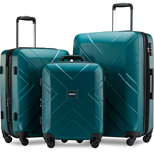 Merax 3 Piece Luggage Sets Expandable ABS Spinner Suitcase with TSA Lock 20 inch 24 inch 28 inch (Dark Green)