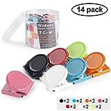 Wukong 14 Stück 7 Farben Magnetclips Metall Magnete Haken Klammer Clips Kühlschrankmagnete für...