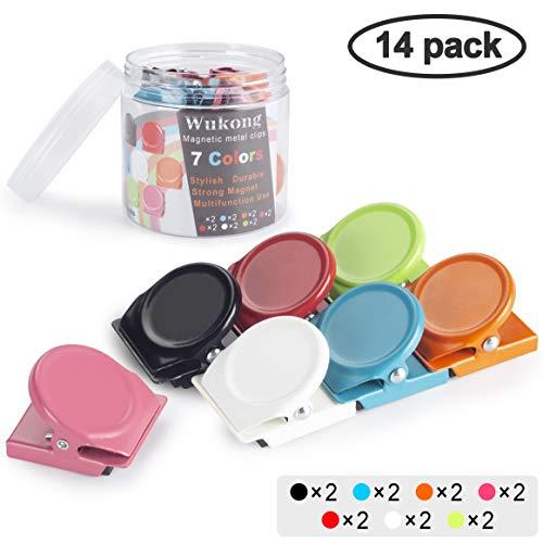 Wukong 14 Stück 7 Farben Magnetclips Metall Magnete Haken Klammer Clips Kühlschrankmagnete für Kühlschrank, Pinnwand, Tafel, Büro, Küche