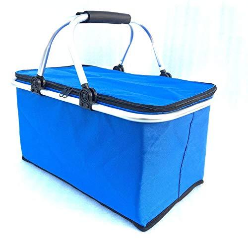 B/H Einkaufskorb faltbar,Picknickkorb Inkubator Einkaufskorb Isolierbeutel Auto Ice Pack-blau,Design Aufbewahrungskorb