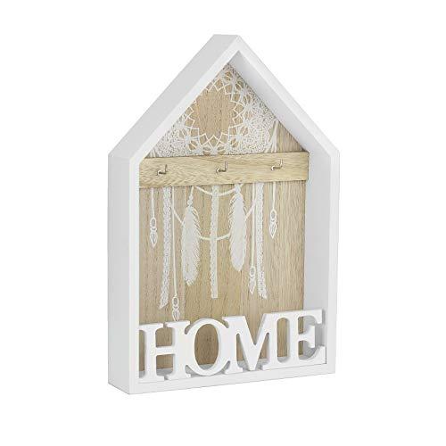 Metradex Schlüsselbrett aus Holz mit Ablage zum aufhängen oder aufstellen Home 20 x 30 cm weiß: Schlüsselleiste Schlüsselkasten Schlüsselboard