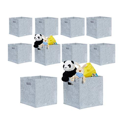 10er Set quadratische Filzkörbe, faltbar, mit 2 Trageöffnungen, schicke Regalkörbe, H x B x T: 30 x 30 x 30 cm, grau