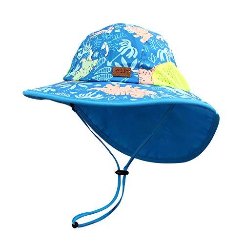 Pesaat Baby Sonnenhut Mädchen Mit UV-Schutz Sonnenmütze Baby Junge Mit Nackenschutz Sommermütze Kinder Babymütze Sommer(Dinosaurier-Königsblau, Gr.3-12Monate(44-48))