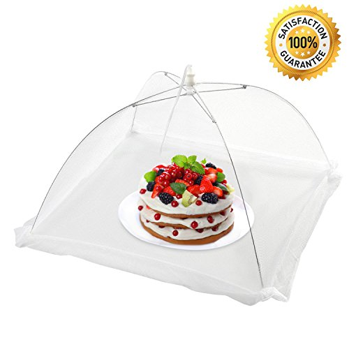 [Pack of 4] Sicili White Food cover tent–Food umbrella–Pop-up food tent to keep out insects, bugs, flies, mosquitos–Size 16''x16''x11''–Ideal for indoor kitchen, outdoor activities, picnics, BBQs