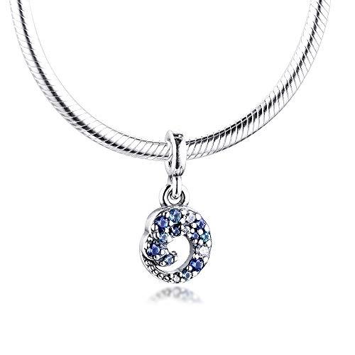 LISHOU Mujer Pandora S925 Sterling Silver Me My Blue Ocean Wave Dangle Me Bangle Charms Bead Fashion Girl Pulsera Collares Fabricación De Joyas DIY