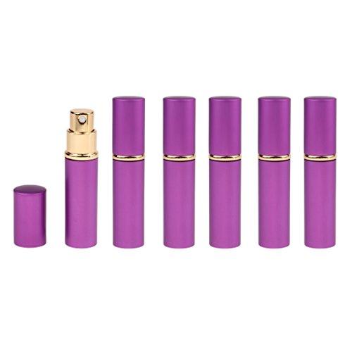 Baoblaze 6x Flacons Pompe de Parfum 10ml Atomiseur Pressé Vaporisateur Parfum Portable - Violet