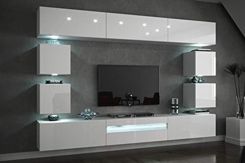 Furnitech Future C81 Wohnzimmer Wandschrank Mediawand mit Led Beleuchtung Schrankwand Wohnwand Möbel (C81-HG-W2 1B (273 cm), LED RGB (16 Farben))