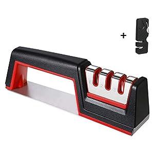 41ogXcmqRyL. SS300  - flintronic Afilador de Cuchillos, Afilador de Cuchillos Manual de 3 Etapas, Base de Acero Inoxidable Antideslizante para…