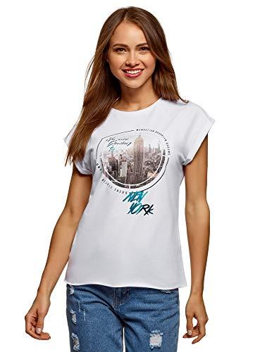 oodji Ultra Donna T-Shirt in Cotone con Stampa e Orlo Grezzo, Bianco, IT 42 / EU 38 / S