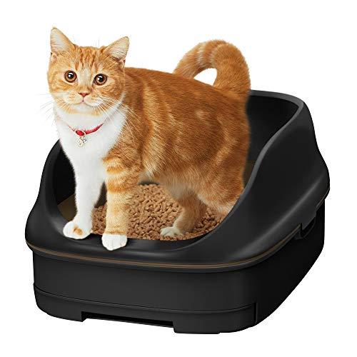 スマイリーBOX 猫用トイレ本体 ニャンとも清潔トイレセット [約1か月分チップ・シート付] オープンタイプ カフェブラウン&チャコール (猫ちゃん想い設計) 猫砂