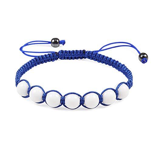 Pulsera Trenzada,Azul Blanco 8 Mm Piedra Natural Pulseras Tejidas A Mano Ajustables Joyas con Dijes Ligero Amistad para Hombres Mujeres Niños