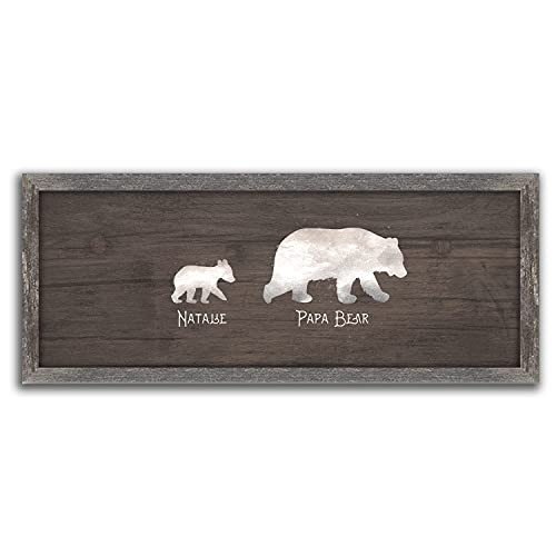 """Papa Bear and Cubs - Personalized Father's Day Gift from Children (13.5""""x32.5"""" Framed Canvas, 1 Cub)"""