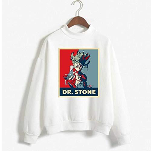 Moletom Gola Redonda Unissex Algodão Dr Stone Senku Ishigami Anime (Branco, G)