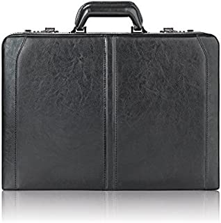 Solo Broadway Premium Leather 16 Inch Laptop Attaché, Hard-sided with Combination Locks, Black