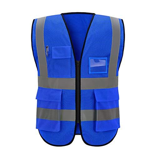 DBL Warnweste Mehrfach atmungsaktive Gitter-Arbeitskleidung Reflektierende Sicherheitsweste Reisen bei Nacht Sicherheit Unisex Sicherheitswesten (Color : Blue, Size : XL)