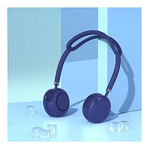 Ventilador Cuello Ventilador Portatil USB Recargable Mini Ventilador De Manos Libres 3 Velocidades Rotación Libre De luz Led para Viajes Interior Exterior (Color : Blue)