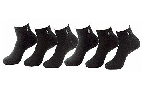 Polo Ralph Lauren Men's 6-Pairs Quarter Black Socks Sz: 10-13 fits shoe 6-12.5