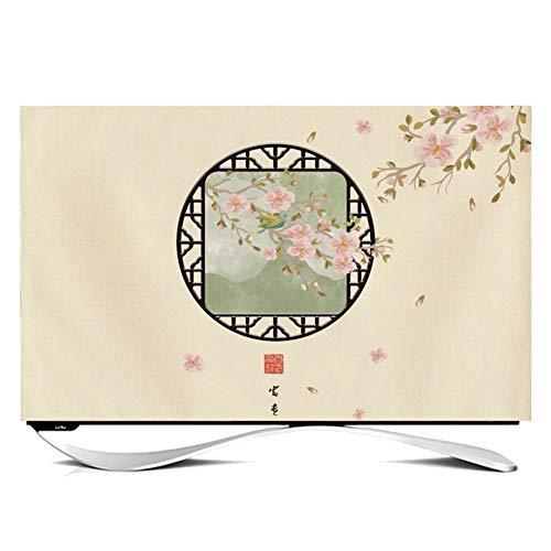 catch-L Interior Televisión LCD Monitor Cubierta De Polvo Estilo Chino Rima Antigua Hoja De Loto De Pescado (Color : Num2, Size : 32 Inches)