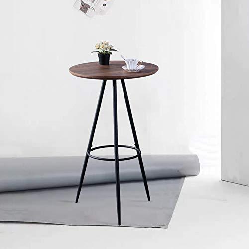 GOLDFAN Bistrotisch Rund Stehtisch Holz Bartisch Kleiner Tisch mit Metallgestell mit Tischplatte aus MDF 60x60x100cm