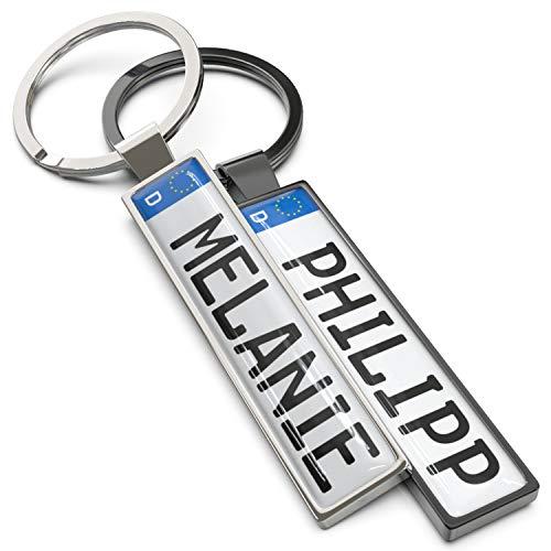 Wunderding Kennzeichen Schlüsselanhänger mit Namen - Personalisiertes Mini Kfz-Kennzeichen als Schlüssel-Anhänger, Männer und leidenschaftliche Autofans (Anthrazit)