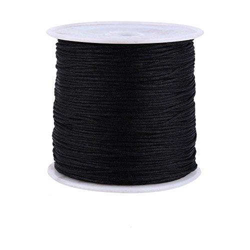 Cuerda de Nylon, Haofy Cordón de Nylon, 100m x 0.8mm Cordón de Hilo de Reborde, con Varios Colores, Cuerda Trenzada para DIY Tejer Pulsera, Collar, Joyas, Nudo Chino o Manualidades, Negro