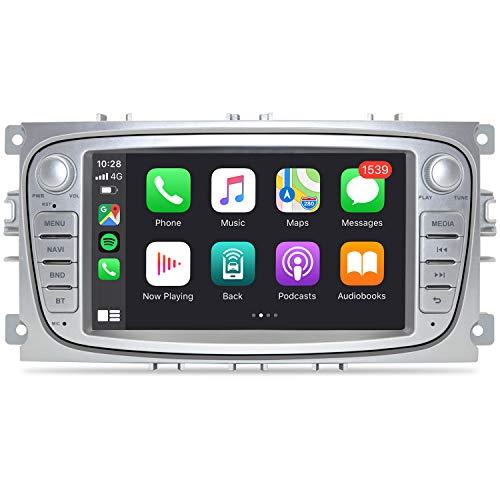 OLEDPRO Android 10.0 Autoradio für Ford Focus Mondeo 3GB+32GB Wireless CarPlay & Wired Android Auto 7 Zoll Bildschirm Auto Audio Stereo mit Navi, AM/FM RDS Radio, WiFi, Bluetooth