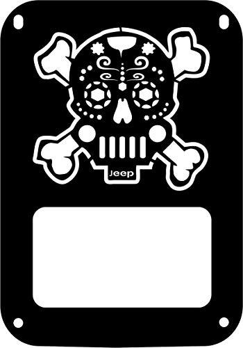 JeepTails Sugar Skull Crossbones Tail lamp Light Covers Compatible with Jeep JK Wrangler - Black - Set of 2