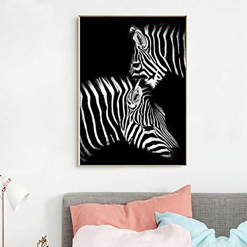 Preisvergleich Produktbild YJLMT Plakat Leinwand Gemälde Wandaufkleber Wandbild Dekorative Gemälde Wandkunst Bilder Leinwand Dekoration Hauptdekoration Wanddekoration Zwei Zebras Wandkunstplakat