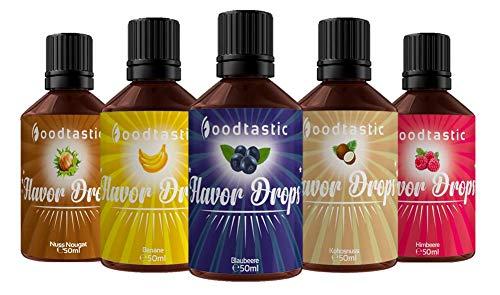 Foodtastic Flavor Drops Fruity Bundle mit 5 Sorten   Flavdrops Aroma Tropfen   Quark, Wasser oder Porridge kalorienfrei Süßen   vegan, glutenfrei und ohne Zucker