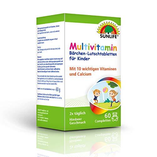 SUNLIFE Multivitamin Bärchen-Lutschtabletten für Kinder: Mit 10 wichtigen Vitaminen & Calcium, Himbeere, 60 Completten