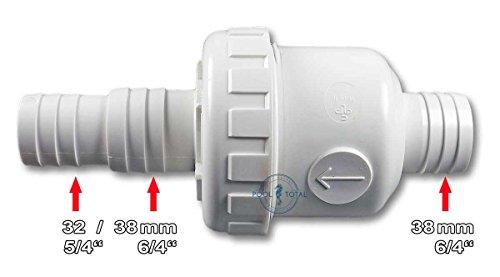 Rückschlagventil für Pool - Schwimmbad mit 38 mm Schlauchanschluss - optimal für Sandfilter