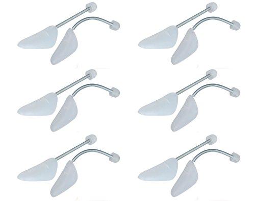 Top Ten Handels GmbH Schuhspanner Schuhdehner Kunststoff mit Metallfeder Damen oder Herren Schuhe 6 Paar Set, Farbe:Weiß