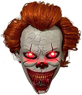yacn Mask,It Clown Full Head Mask Halloween Costume Eyes Light with Red LED Flash Light Halloween Scary Cosplay Party Props (red led)