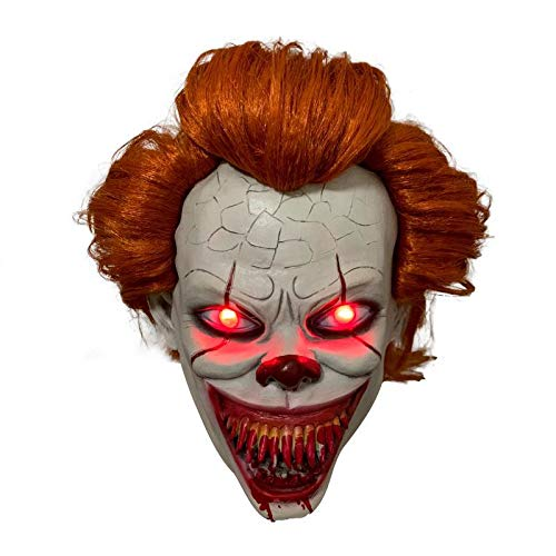 yacn Pennywise Mask Scary Clown Halloween LED Light up Mask Halloween Costume for Man