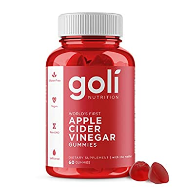 """Apple Cider Vinegar Gummy Vitamins by Goli Nutrition - 3 Pack - (180 Count, Organic, Vegan, Gluten-Free, Non-GMO, with""""The Mother"""", Vitamin B9, B12, Beetroot, Pomegranate)"""