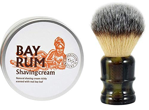 The Executive Shaving Company Big Jock Grand Fibre Synthétique Brosse de Rasage avec D'Imitation Corne Résine Manche et Bay Rum Naturel Crème de Rasage 200ml
