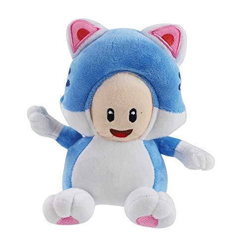 JIAL OmeDecor Plüsch-Puppen 18cm / 3D World Spiel Cartoon-Katze Blauer Pilz Toad Plüschtiere Plüschtiere Chongxiang