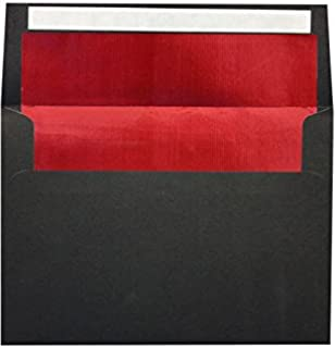 A7 Foil Lined Invitation Lined Envelopes w/Peel & Press (5 1/4 x 7 1/4) - Black w/Red Foil Lining (50 Qty.) | Perfect for 5 x 7 Holiday Greeting Cards, Invitations and Photots | 80lb. Paper