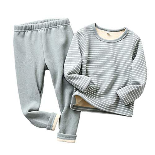 Kinder Thermo Unterwäsche - Kinder Einfarbig Rundhals-Ausschnitt Pullover Weich Strecken Hosen Unisex Elegant Basic Warm Zweiteilig Bekleidungs