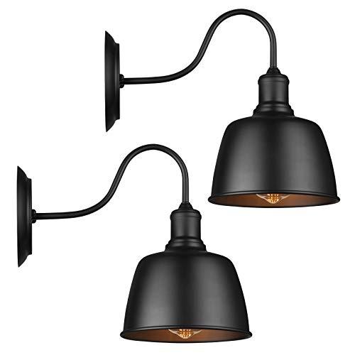 Lámpara de pared de cuello de cisne de granero, color negro, con aplique de pared industrial, clásico, para casa de granja E26, luz...