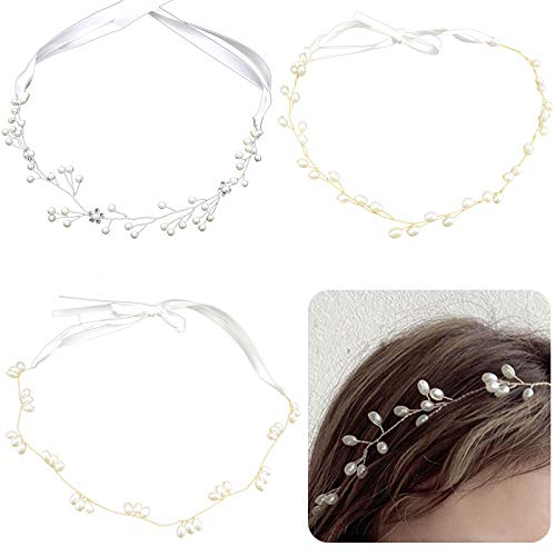 DIYstore 3 Pieces Artificial Crystal Pearl Hair Vine Bride Wedding Headband Flower Girl Handmade Crystal Rhinestones Wedding Head Band