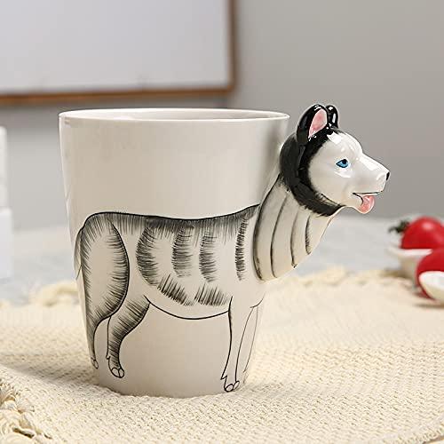 gendies Taza de cerámica Tridimensional, Taza de café con Leche de Dinosaurio Animal 3D, Regalo para niños 401-500ml Husky Siberiano