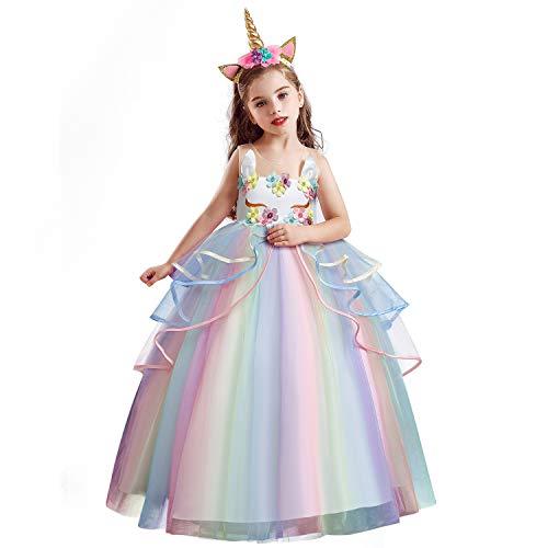 NNJXD Vestido de festa para meninas sem mangas bordado princesa vestido de baile de formatura, White Set, 8-9 Years