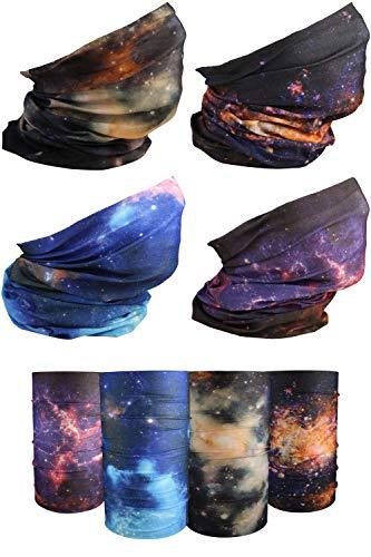 [4 Pack] UV Cooling Galaxy Neck Gaiter   UPF 50+ Sun/Wind/Dust Protection   Multipurpose Neck Gaiter for Men and Women   Summer Buff Tube Bandana Gaiter Mask Seamless Face Cover Shield