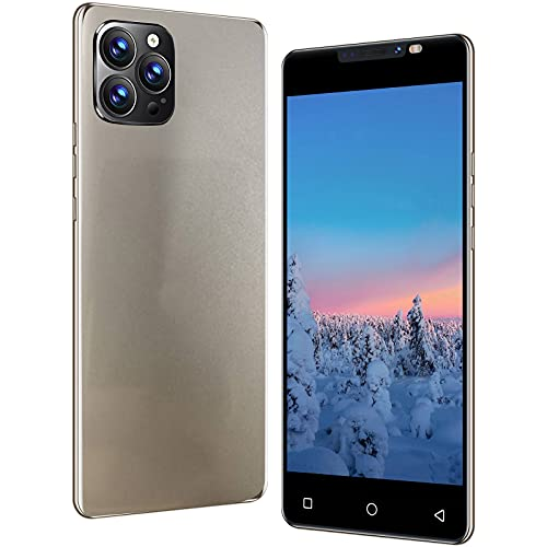 Unlocked Smartphones, Dual sim Unlocked Cell Phones for Seniors, I13pro 5 inch 3-Camera Android 1G RAM + 4GB ROM, High-Definition Full Screen, High Capacity Battery, Face Detection (Gold)
