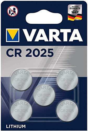VARTA CR2025 Lithium Knopfzellen 3V Batterie in Original Blisterverpackung, 5 Stück