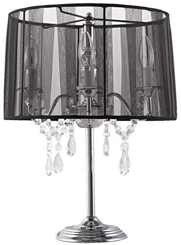 Casa Padrino Barock Kristall Tischleuchte Silber/Schwarz Ø 35 x H. 49 cm - Tischlampe mit Glasbehang und rundem Lampenschirm