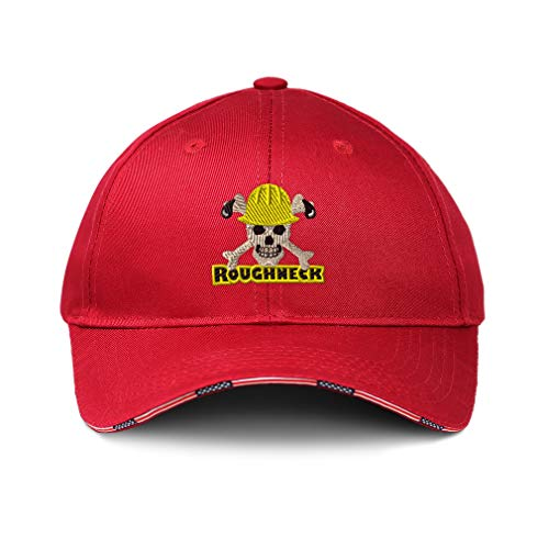 American Flag Hat Roughneck Oilfield Embroidery Cotton Patriotic USA Baseball Cap Strap Closure Red