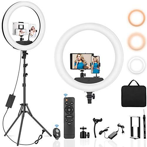 PEYOU Luce ad Anello LED, 22' Anello Luminoso Dimmerabile con Treppiede da 190 cm, 78W, Ricevitore Bluetooth, Modalità a 3 Luci e 10 Luminosità Regolabile per Trucco, Selfie e Video YouTube.