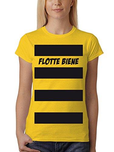 clothinx Damen T-Shirt Fit Karneval Flotte Biene Gelb Größe S